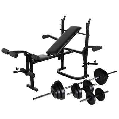 vidaXL Weight Bench with Weight Rack Barbell and Dumbbell Set 30.5kg Fitness