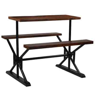 vidaXL Solid Reclaimed Wood Bar Table with Benches 120x50x107cm Furniture