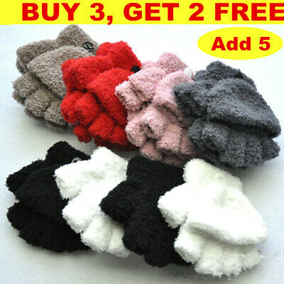 Half Fingerless Gloves Thermal Snow Soft Magic Warm Winter Gloves Girl Boy Glove