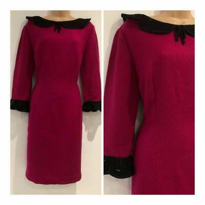 Vintage 60's Fuschia Pink Black Collar & Cuffs Wool Blend Shift Dress Size 14