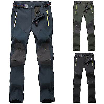 Men SOFT Shell Trousers Thick Sugan Velvet Hiking Spots Pants Outdoor Waterproof