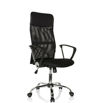 Office Chair Black Mesh Executive Chair PU Chrome High Back PURE NET hjh OFFICE