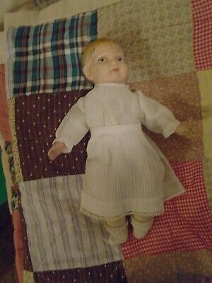 """Antique German Small Doll -12"""" Tall Hand Painted Bisque Face-Straw Fill Body"""