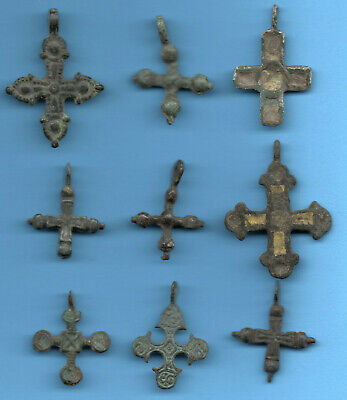 LOT OF 9 Ancient Viking Enamel Bronze Cross Kiev Russia ca 1100 Byzantine 61