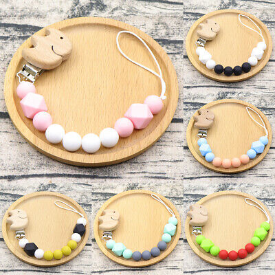 Elephant Beech Food Grade Silicone Beads Baby Teething Dummy Pacifier Chain Clip