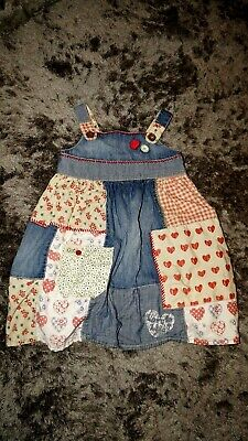 Next Girls toddler pretty denim patchwork dress outfit age 3-4 years