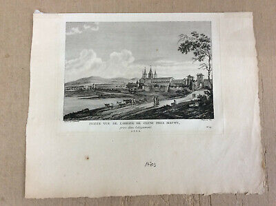 Frankreich View of the Abbey of Cluny-seltener Kupferstich 1781 #103