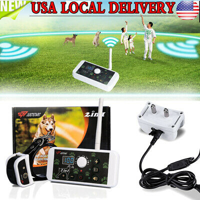 2 in 1 Dog Training Collar Fence Wireless Pet Electric Trainer System Outdoor