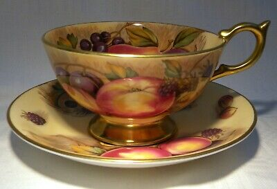 Aynsley Tea  Cup & Saucer Orchard Gold N Brunt   5 Available