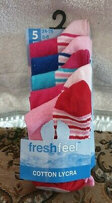 5 pairs girls socks,various colours ,new in pack ,6-8 size