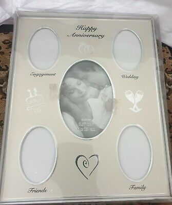 happy anniversary photo frame,holds 5.metal