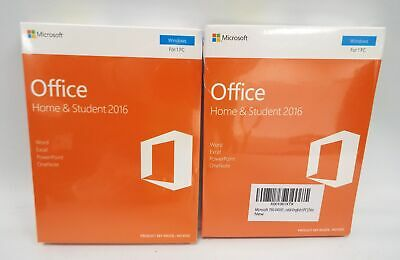 2 x MICROSOFT OFFICE Home & Student 2016 - New/Sealed - E34