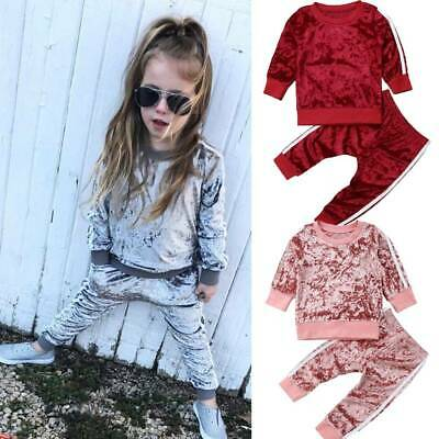 Toddler Kids Baby Girls Tracksuit T-shirt Velvet Tops+Pants Outfits Set Clothes