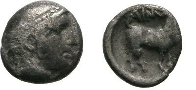 Ancient Greece 429-426 BC MYSIA THRACE AINOS SILVER DIOBOL HERMES GOAT