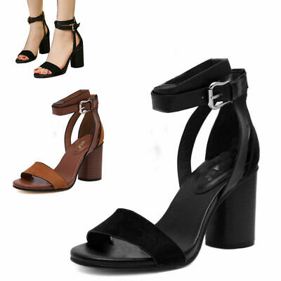 Ladies Strappy Open Toe Chunky High Heels Summer Women Sandals Leather Shoes New