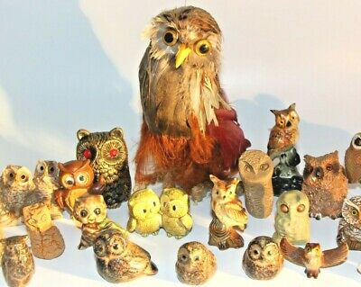 """Lot of 29 Vintage OWL FIGURINES 1/2""""-5 1/2"""" Ceramic Pottery Stone Feather Shells"""