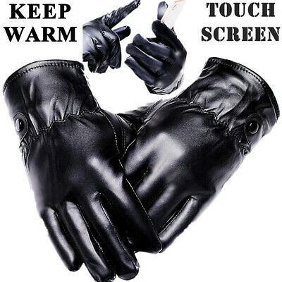 Men Women Winter Warm Gloves Touch Screen Windproof Waterproof Leather Thick