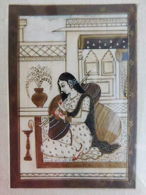Gorgeous Hand Painted Moghul India Persian Miniature in Frame 1900s