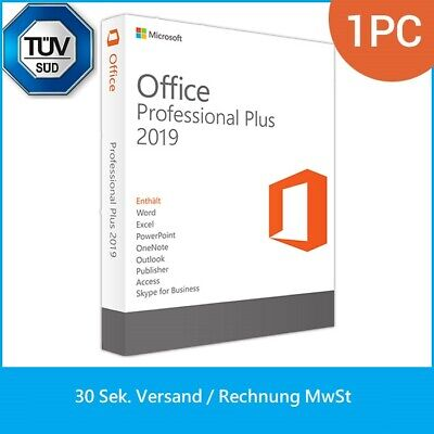 Microsoft Office 2019 Professional Plus Pro Lizenz für Vollversion