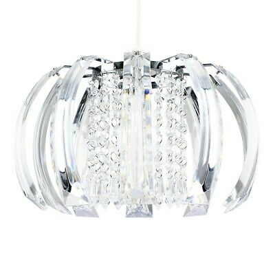 KLIVING RAMSAY SMOKE GREY//PURPLE /& CLEAR ACRYLIC BEADS CEILING PENDANT LAMPSHADE