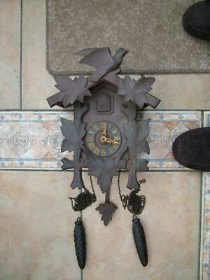 Vintage Hand Carved Wooden Cased German Cuckoo Clock with Weights (Black Forest)