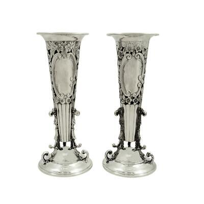 Pair Of Antique Edwardian Sterling Silver Vases - 1904