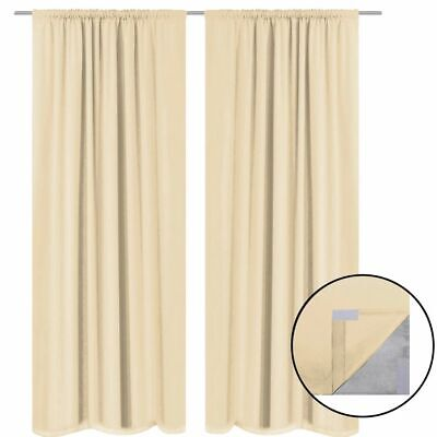 vidaXL 2x Blackout Curtains Double Layer 140x245cm Beige Window Drapes Blinds#