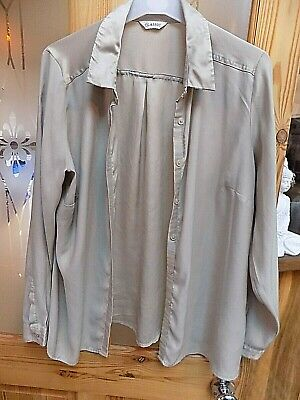 Ladies Marks & Spencer Gold Faux Silk Blouse Size 14 Long Sleeves Collared
