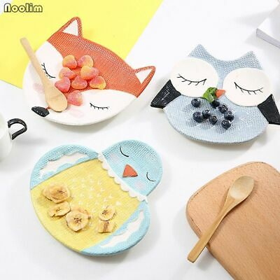 Cute Cartoon Animal Shape Baby Dishes Tableware kids Snack Dessert Plate fox cat