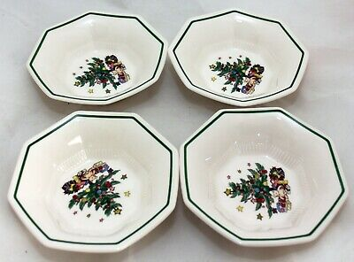 """NIKKO Christmastime 4 All-Purpose Bowls /Cereal  6 3/4"""" EUC Condition."""