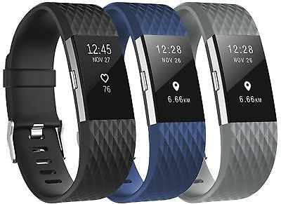3 Pack Replacement Wristband For Fitbit Charge 2 Band Silicone Fitness Large