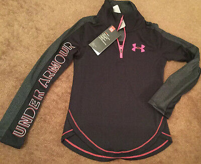 Brand New Under Armour Girls HeatGear Black Hot Pink Top Size Youth Small 130cm