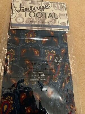 Vintage Tootal 100% Silk Scarf Blue Tile Paisley £50.00 From Tootal Genuine Bnwt