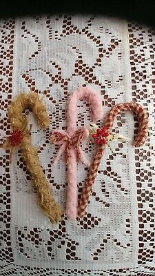 3 Primitive Handmade Candy Canes, Country Christmas, Bowl Fillers, Ornaments