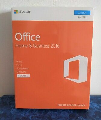 MICROSOFT OFFICE HOME & BUSINESS 2016 for 1 PC - Full New UK Seal Box Commercial