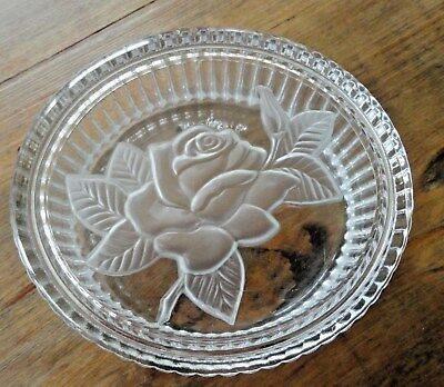 """VTG Telefloral Covered Oval Glass Dish W/ Etched Rose Lid Candy Jewelry 4.5"""""""