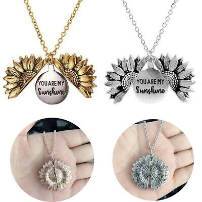 Gifts Necklace Sunflower Open Locket Women's You Are My Sunshine Pendant