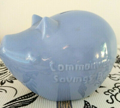 Vintage ceramic Commonwealth Bank Savings Piggy Bank Pig 1960s - Blue -