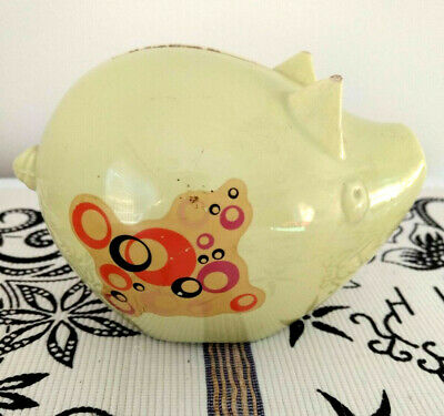 Vintage ceramic Commonwealth Bank Savings Piggy Bank Pig 1960s - Yellow -