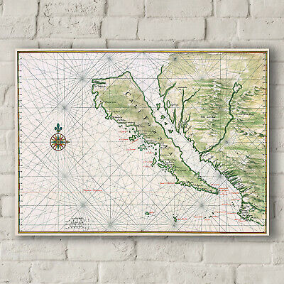 Johannes Vingboons: Map of California Shown as an Island. Fine Art Canvas