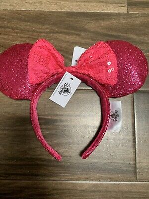 Disney Theme Parks Minnie Mouse Bright Pink Ears Sequins Bow Hat Headband Nwt