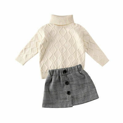 2PCS Toddler Baby Girls Winter Clothes Knitted Sweater Tops+Skirt Outfits Set