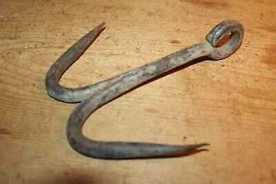 Antique Wrought Iron Double Hook~Meat/Beam/Game~Butchers Hook~Galvanised~