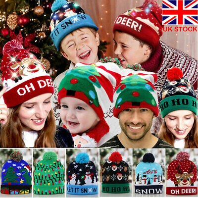 LED Christmas Beanie Hats Flashing Lights Up Adults Kids Xmas Hat Snowflake Caps