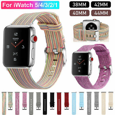 40/44/38/42mm Canvas Watch Bands Strap for Apple Watch Series 5 4 3 iWatch Band