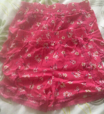 Two Girls Pink Shorts Size 8-9 Years Vgc