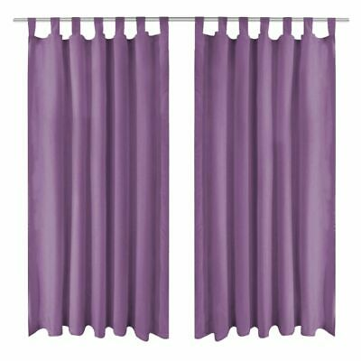 vidaXL 2x Micro-Satin Curtains with Loops 140x175 cm Lilac Window Drapes Home