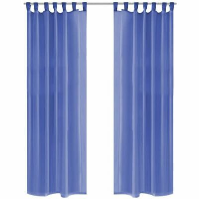 vidaXL 2x Voile Curtains 140x225 cm Royal Blue Window Drapes Coverings Blinds