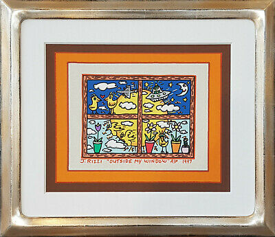 "James Rizzi Unikat Acrylgemälde handsigniert ""OUTSIDE MY WINDOW"" von 1997"