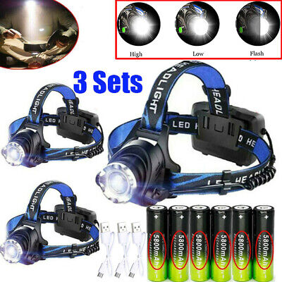 350000Lumen Zoomable T6 LED Headlight USB Rechargeable Headlamp 18650 Head Light